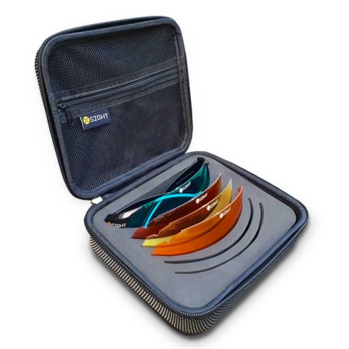X Sight Archery shooting glasses set called the 'All Seasons Set' which is pictured with Ultra Blue, Brown, Light Yellow and orange lenses in a hard zip up case.