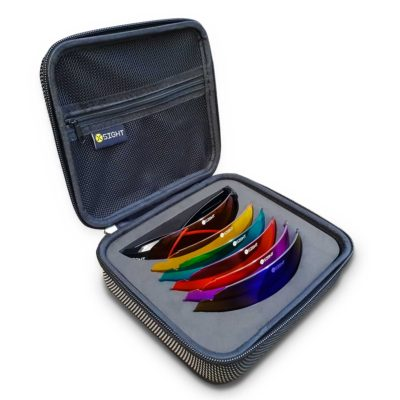 X Sight Archery shooting glasses set called the 'All Seasons Set' which is pictured with Ultra Blue, Brown, Purple, Yellow, REVO Blue and Ultra Red lenses in a hard zip up case.