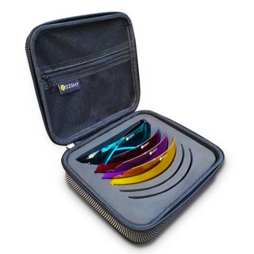 X Sight Archery shooting glasses set called the 'All Seasons Set' which is pictured with Ultra Blue, Brown, Purple and Yellow lenses in a hard zip up case.