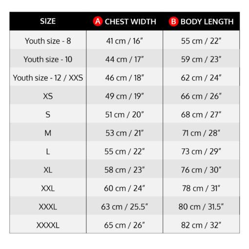 X Sight Archery shirt / jersey size chart