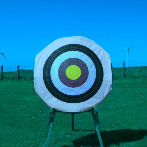 Picture shows how an archery target face outdoors looks when seen through the Ultra Blue lens using X Sight archery glasses